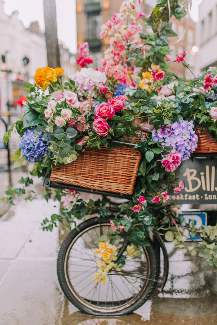 Bill's, covent garden london, early hours london, easter blooms, easter bunnies, easter flowers, easter installations, easter rabbits, Floral bike, floral installations, floral wall, iconic london restuarants, iconic london shops, london florist, spring flowers