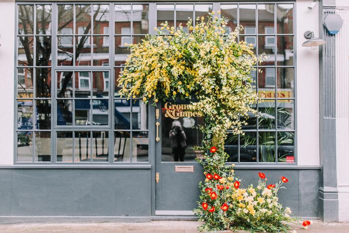 doors of london, early hours london, easter blooms, easter bunnies, easter flowers, easter installations, floral installations, floral wall, Grounds and Grapes, london florist, spring flower display, spring flowers