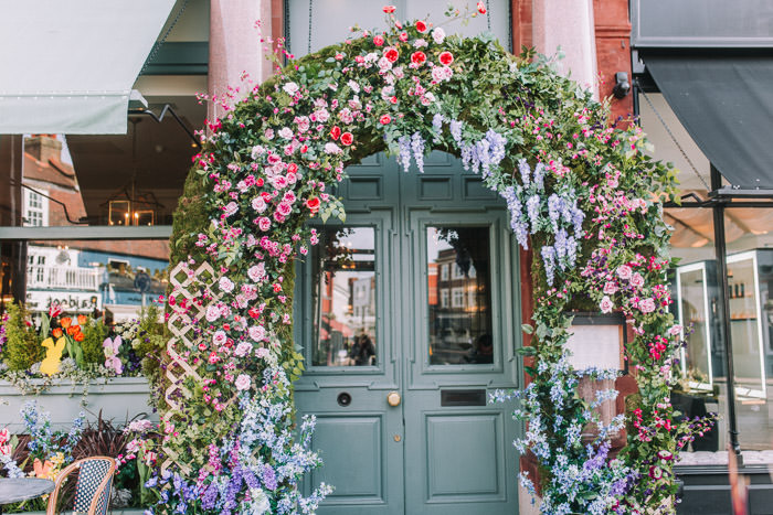 doors of london, early hours london, easter blooms, easter bunnies, easter flowers, easter installations, easter rabbits, floral installations, floral wall, iconic london restuarants, iconic london shops, ivy wimbledon, london florist, spring flowers, wimbledon