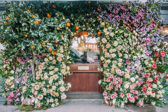 doors of london, early hours london, easter blooms, easter bunnies, easter flowers, easter installations, easter rabbits, floral installations, floral wall, iconic london restuarants, iconic london shops, ivy chelsea garden, kings road, Knightsbridge, london florist, spring flowers