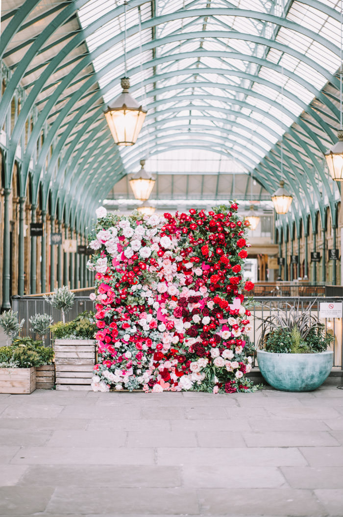 blossom, covent garden london, creative floral installation, doors of london, early hours london, Early Hours LTD, floral installation, floral wall, huge roses, iconic valentines rose, lauren baker art, london florist, london flowers, london love, neon sign, pink roses, red hearts, red roses, storefronts, valentines, valentines day, valentines in london, you blow my mind, floral wall