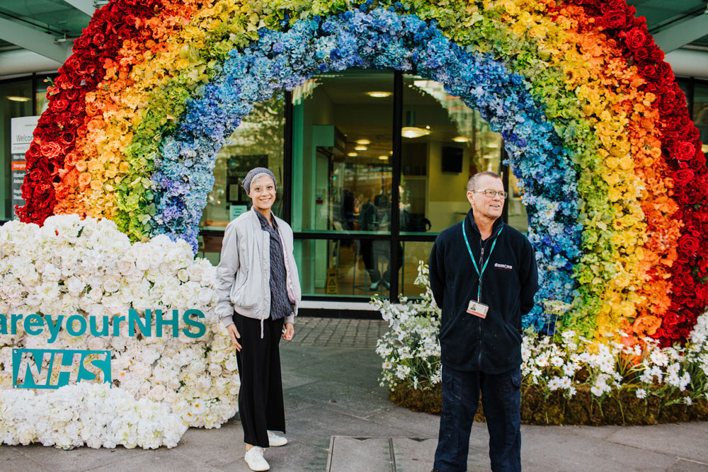 UCLH, clap for carers, clap for the NHS, corona virus, covid-19, Early Hours London, early hours ltd, floral installation, rainbow floral wall installation, rainbows in london, uclh, university college london hospital, weareyournhs