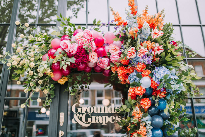 colourful florals, doors of london, early hours london, faux flowers, floral workshop, Grounds and Grapes, iconic london restuarants, influencers event, innovative london florist, london florist, mr and mrs Unique, press event, rainbow florals, shop fronts, spring flowers
