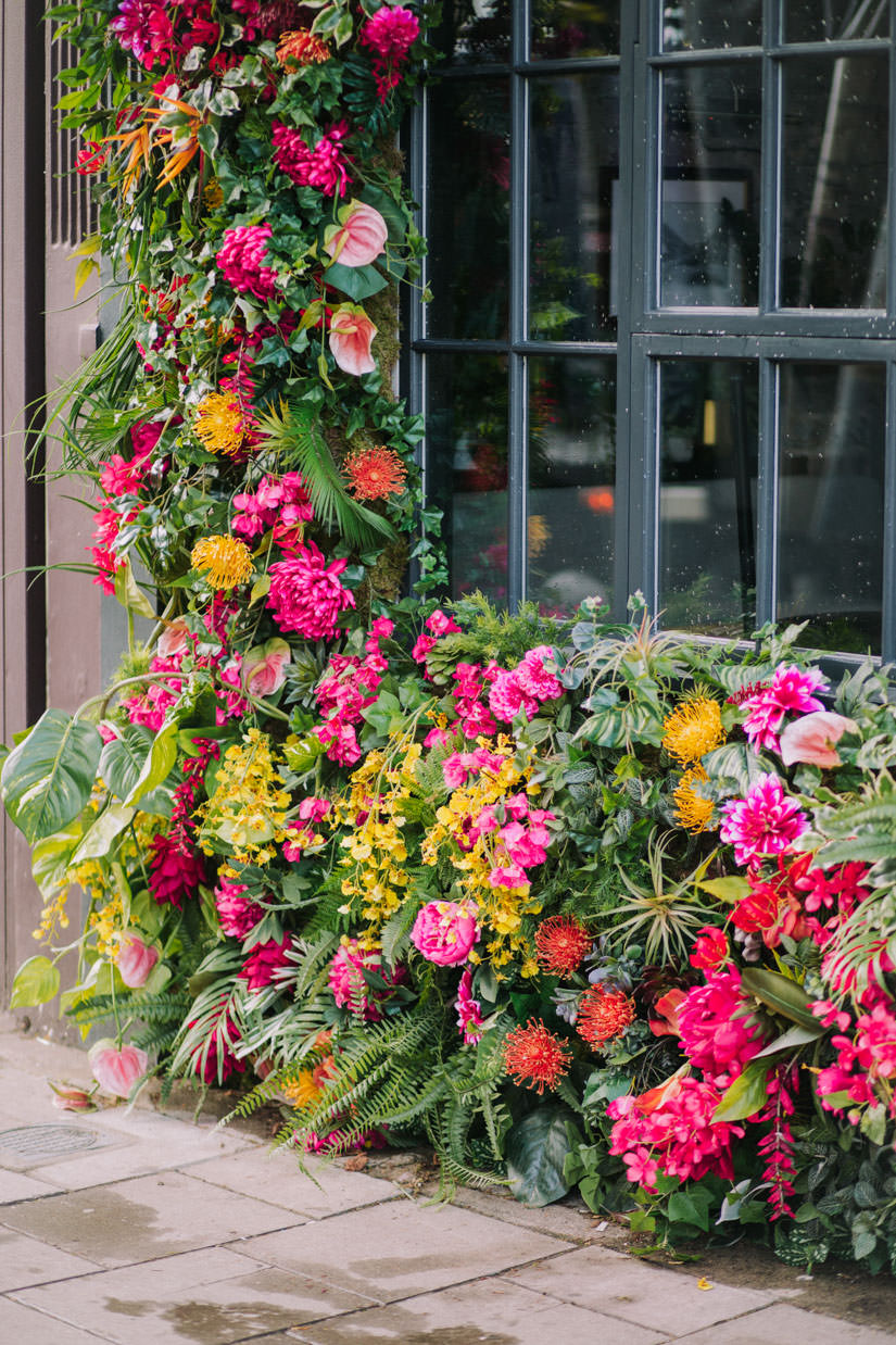 Summer floral installation at Grounds and Grapes