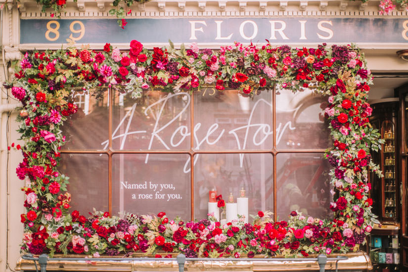 Summer flower installation at Floris London